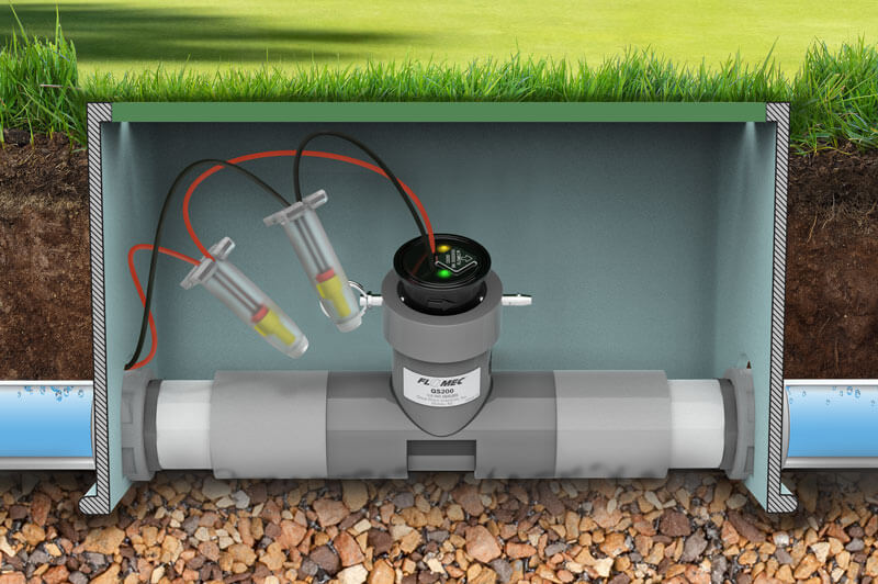 FLOMEC QS200 turf irrigation flow sensor installed in a valve box